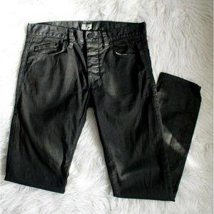 William Rast Mens Black Coated Denim Waxed Jeans